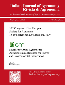 View Vol. 3 No. s3 (2008): 10th Congress of the European Society for Agronomy, Bologna, Italy